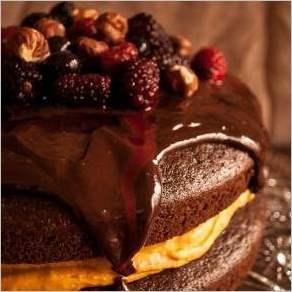 Шоколадно кофейный торт с начинкой из тыквы