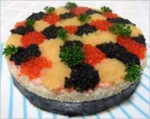 Торт   суши 3 икринки